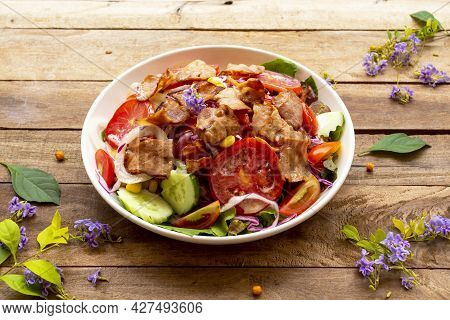 Vegetable, Bacon Salad Healthy Foods Of Lifestyle Arrangement Flat Lay Style On Background Wooden