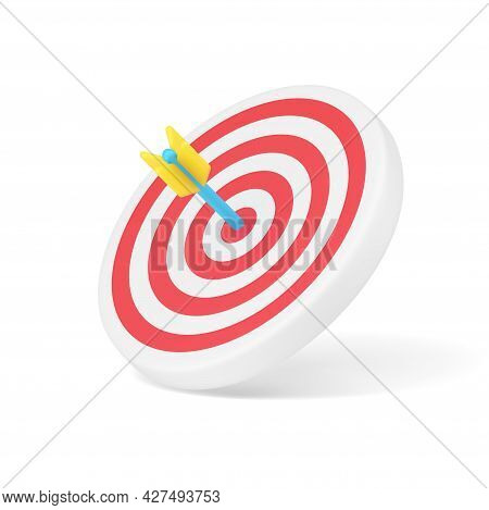 Arrow Target 3d Icon. Circular Disc With Red Stripes And Blue Dart In Center