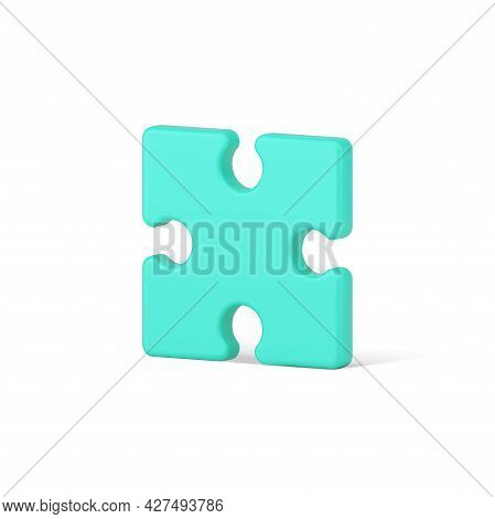Green Piece Square Jigsaw 3d Icon. Volumetric Element With Creative Solution