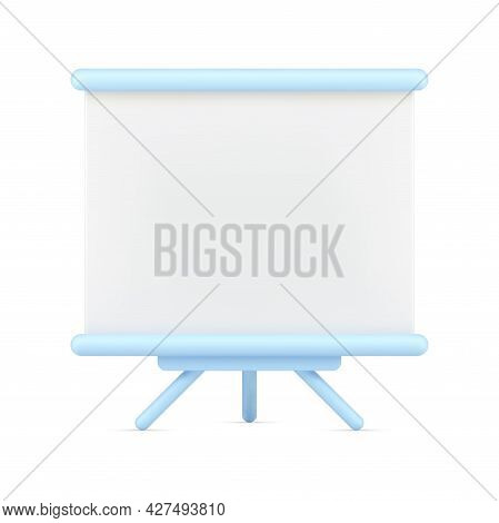 Empty Stand On Tripod 3d Icon. White Board For Presentation And Projector