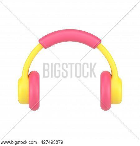 Music Headphones 3d Icon. Volumetric Audio Headset With Soft Accents