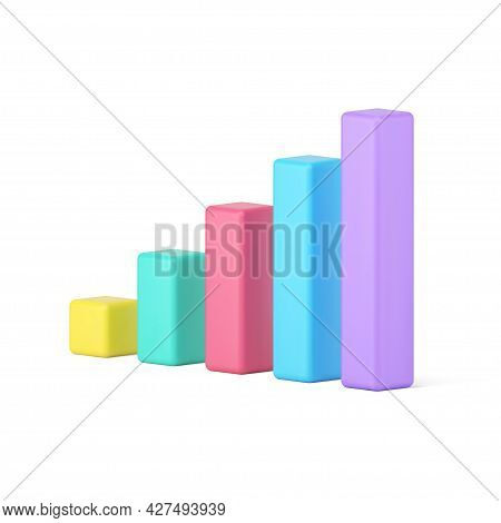 Statistic Chart Bars 3d Icon. Volumetric Colored Columns For Informational Presentation