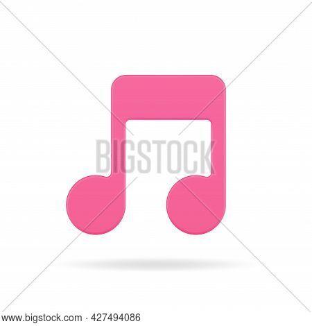 Red Music Note 3d Icon. Volumetric Tone Symbol Of Creativity