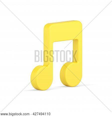 Golden Note 3d Icon. Music Tone Symbol Of Creativity