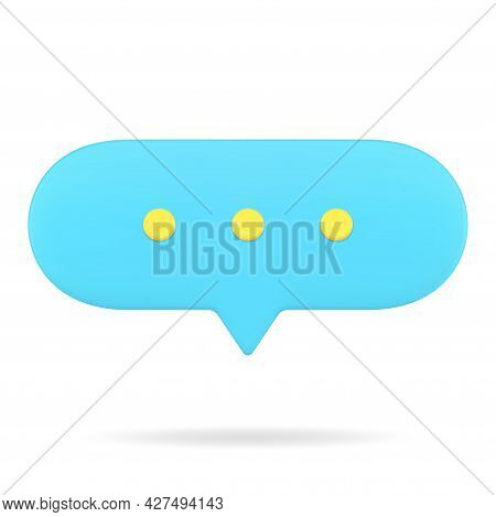 Blue Web Speech Bubble 3d Icon. Oval Chat With Text Comments