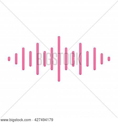 Red Music Pulse 3d Icon. Abstract Bars For Voice And Audio Frequencies