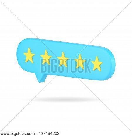 Web Rating Bubble With Five Stars 3d Icon. Blue Vote Of Satisfied Customers