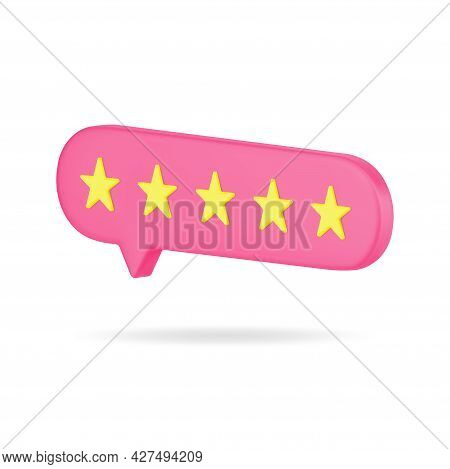 Red Bubble With Five Gold Stars 3d Icon. Volumetric Rating Of Satisfied Customers