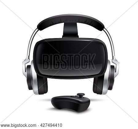 Virtual Reality Games Simulator Black Headset With Headphones And Gamepad Smartphone Controlled Box