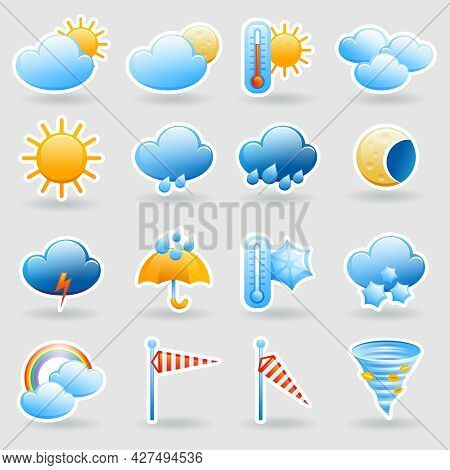 Weather Forecast Tablet Mobile Symbols Widget Icons Set With Clouds And Rainbow Abstract Flat Isolat