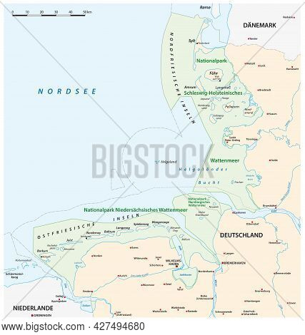 Vector Map Of The Three Wadden Sea National Parks In German Language, Germany