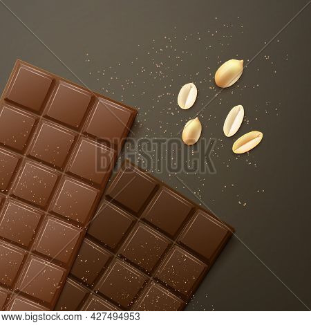 Vector Milk And Bitter Chocolate Bars With Peanuts, Top View Isolated On Dark Background