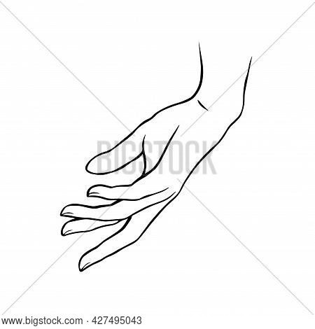 Female Hand Outline. Caring For Delicate Skin. Beauty And Health. Logo For A Beauty And Manicure Sal