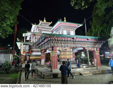 Phuentsholing, Bhutan - May 04, 2019: A Bhutanese Temple At Night With Beautiful Architecture And Pe