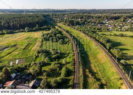 Aerial View Of The Turning Railroad Tracks