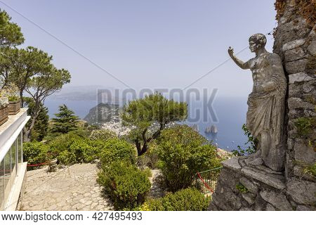 Capri Island; Italy - June 28; 2021: Aerial View From The Top Of The Island Monte Solaro To The Tyrr