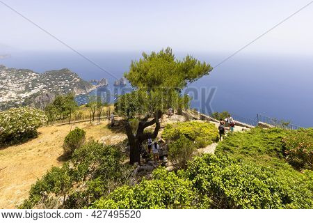 Capri Island, Italy - June 28, 2021: Aerial View From The Top Of The Island Monte Solaro To The Tyrr