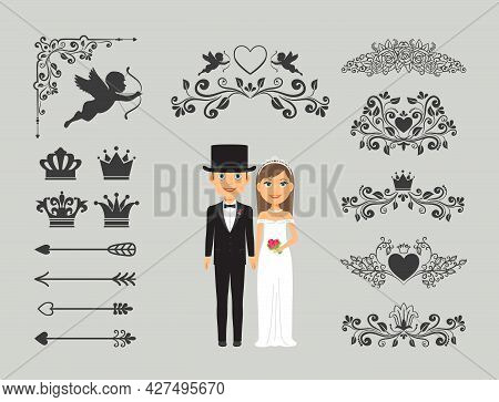 Wedding Invitation Design Elements. Ornate Elements For Wedding Decoration. Vector Illustration