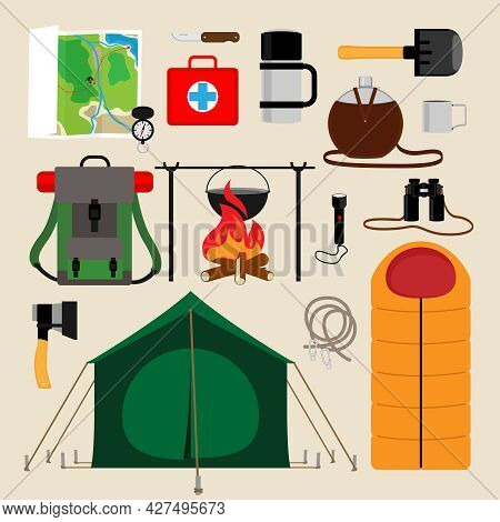 Camping Equipment Icons. Facilities For Tourism, Recreation, Survival In The Wild. Vector Illustrati