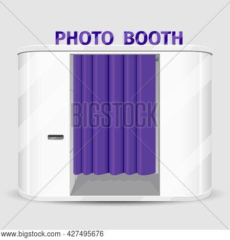 White Photo Booth Vending Machine. Photography Machine Service, Cabin Quick Shoot. Vector Illustrati
