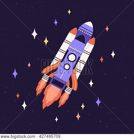 Rocket Fly In Outer Space Among Stars. Rocketship With Fire Flames Flying In Cosmos. Spaceship Trave