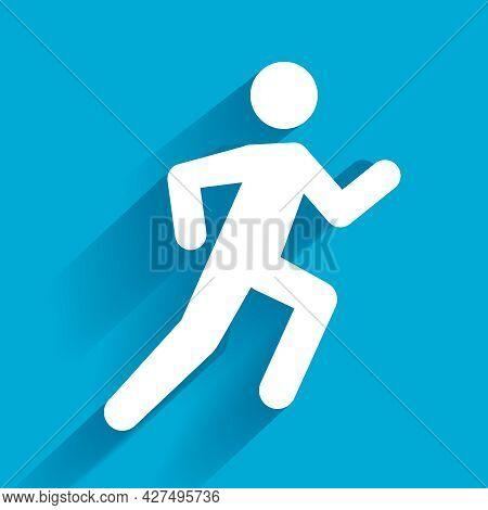 Vector Running Illustration, White Man On Blue