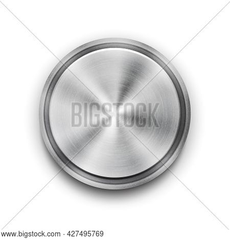 Vector Silver Circular Metal Textured Button With A Concentric Circle Texture Pattern And Metallic S