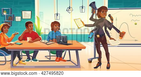 Multi Task Business Woman With Many Arms Conduct Briefing Or Board Meeting For Employees Sitting At