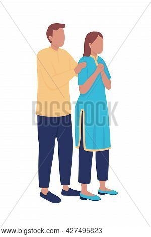 Disturbed Husband And Wife Semi Flat Color Vector Characters. Standing Figures. Full Body People On