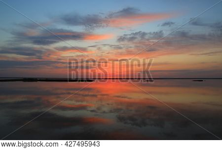 Quiet evening landscape on sea