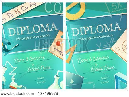 Chemistry And Mathematics Science Diploma With Chemical Laboratory And Maths Equipment And Formulas.