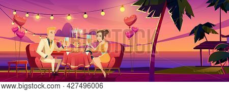 Couple At Night Beach Romantic Date Dinner, Man Holding Woman Hand Sitting At Served Table On Seasid