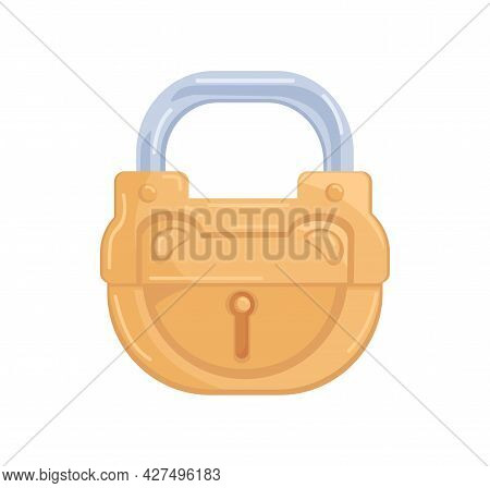 Locked Hanging Brass Padlock With Closed Metal Shackle And Keyhole. Glossy Gold Mechanism For Protec
