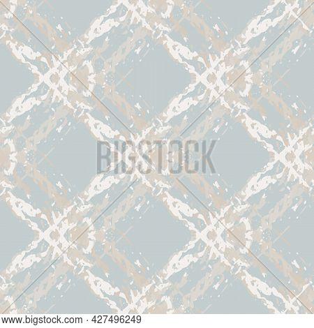 Marbling Style Burlap Texture Natural Beige Vector Seamless Pattern Background. Fiber Texture Diagon