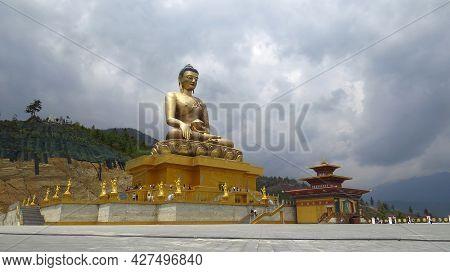 Thimpu, Bhutan - April 30, 2019: A Huge Buddha Statue Made Of Bronze In Bhutan, A Major Attraction F