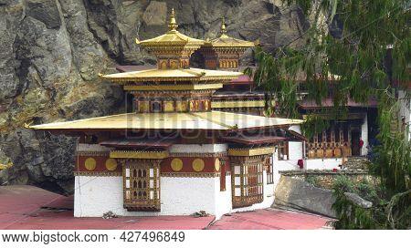 Paro, Bhutan - May 03, 2019: The Tigers Nest Temple On A Tall Himalayan Mountain In Bhutan