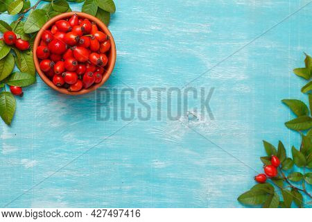 Cup With Hip Roses On Blue Background. Mock Up. Copy Space. Close Up