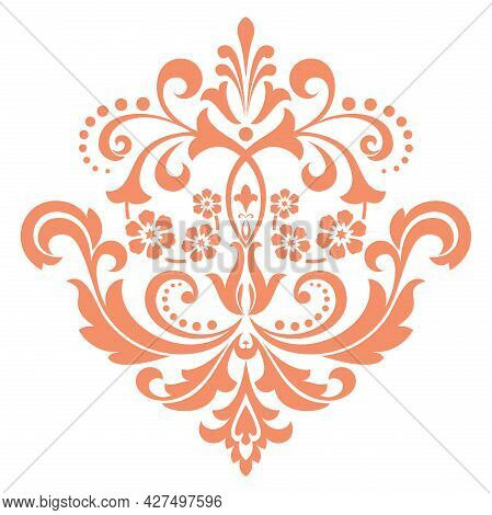 Damask Graphic Ornament. Floral Design Element. Pink Pattern