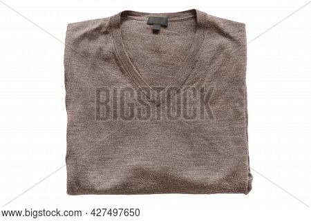 Folded Brown Wool Pullover Isolated Over White