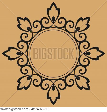 Decorative Frame Elegant Element For Design In Eastern Style, Place For Text. Floral Black And Beige