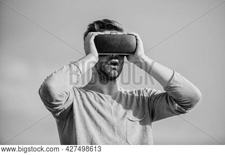 Future Is Now. Create Own Business. Digital Future And Innovation. Sexy Man Sky Background Vr Glasse