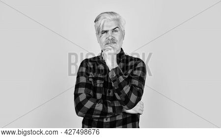 Hairdresser And Barbershop. Bearded Man Checkered Shirt. Hipster Dyed Beard. Coloring Beard. Sign Of