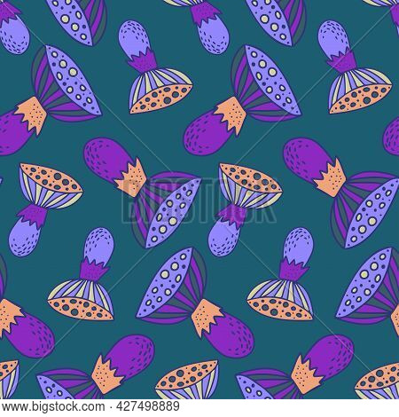 Vector Seamless Colorful Pattern With Lined Mushrooms Or Fungi In Cold Tones