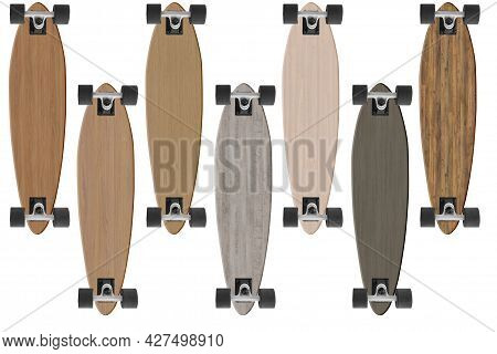 Collection Of Seven Longboard With Different Wooden Texture Isolated