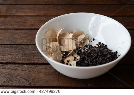 Crushed Egg Shell And Spent Coffee Grounds In Bowl. Natural Organic Fertilizers For Gardening Rich I