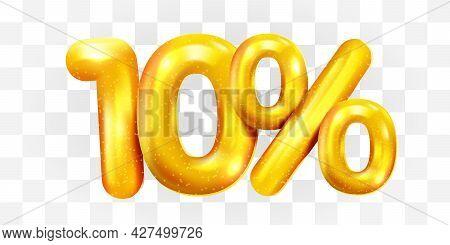 10 Percent Off. Discount Creative Composition Of Golden Balloons. 3d Mega Sale Or Ten Percent Bonus