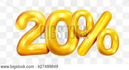 20 Percent Off. Discount Creative Composition Of Golden Balloons. 3d Mega Sale Or Twenty Percent Bon