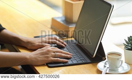 Close Up Female Typing To Check Online Engagement Feedback, Checking Email
