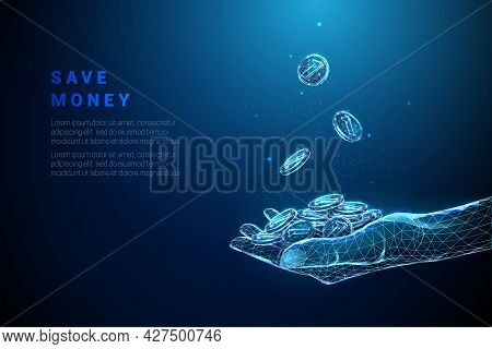 Abstract Blue Giving Hand With Pile Of Coins And Coins Falling In It