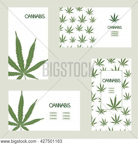 Set Of Logo, Business Cards With Cannabis Leaves, Hemp. Vector Design Templates Isolated On Layers.